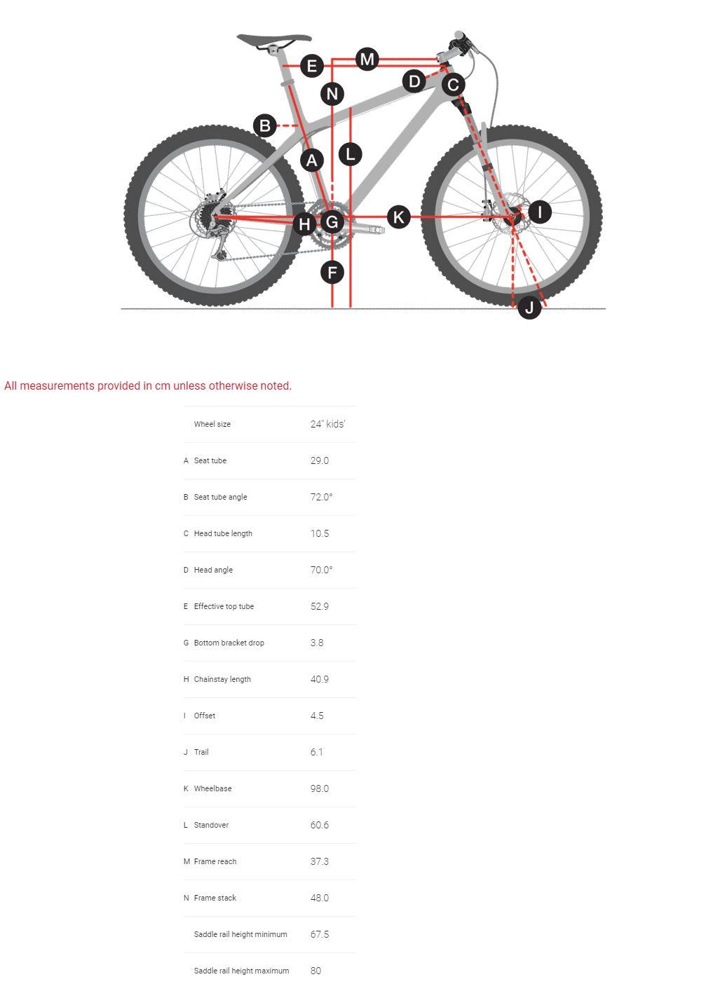 Trek Wahoo 24 Geometry Chart
