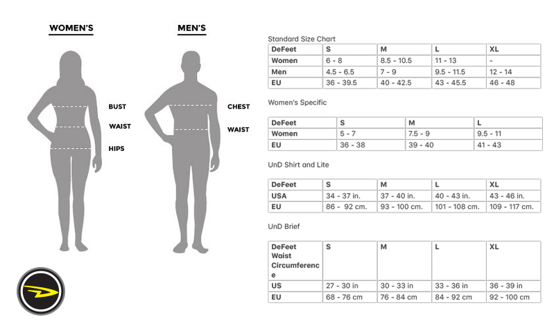 DeFeet sizing chart