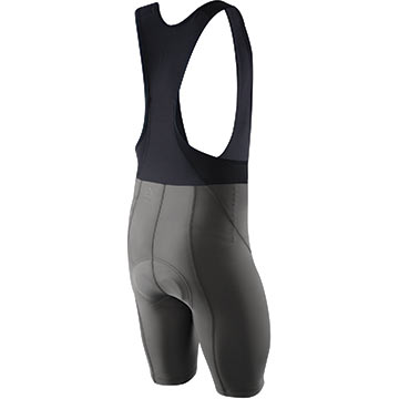 The back of the Pearl Izumi Attack Bib Shorts in Shadow Gray.