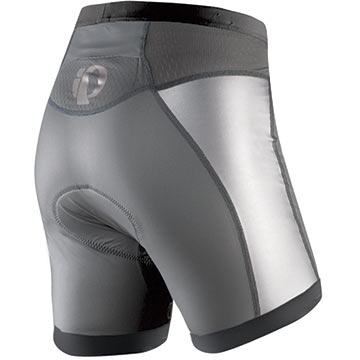 The back of the Pearl Izumi Women's P.R.O. Tri Shorts in Shadow Gray/Black.