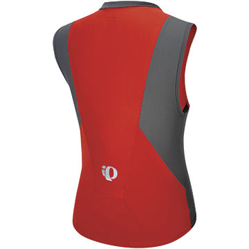 The back of the Pearl Izumi Elite SL Tri Jersey in Shadow Gray/Fiery Red.