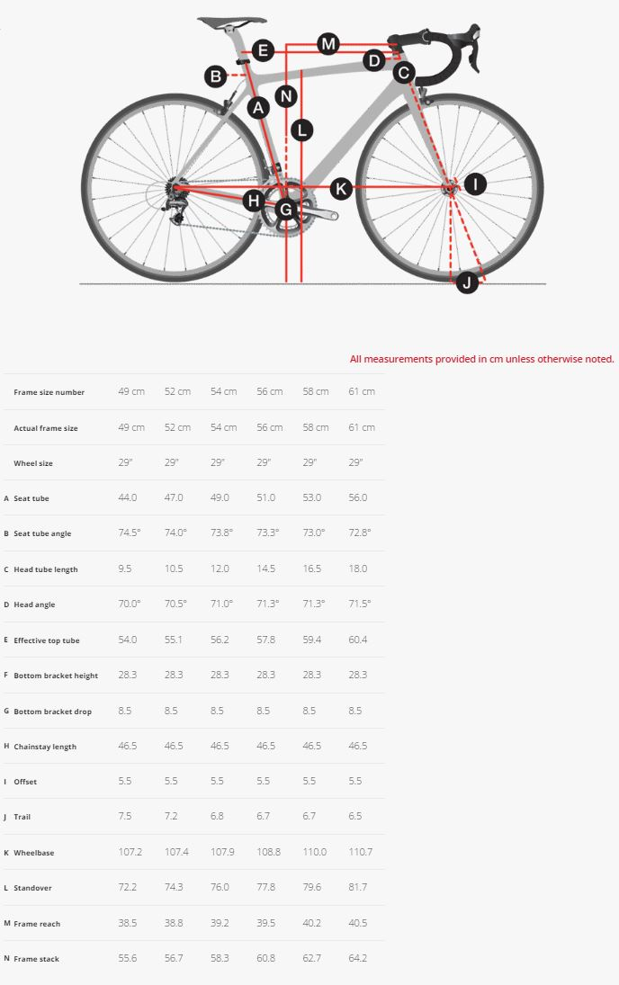 Trek 920 Disc geometry chart