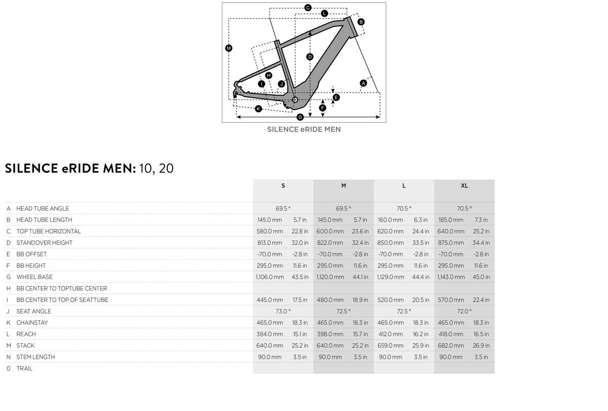 Scott Silence eRide 10 Men geometry chart