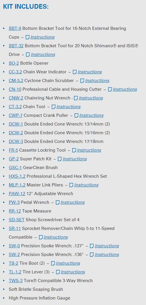 Park Tool AK-2 tool list