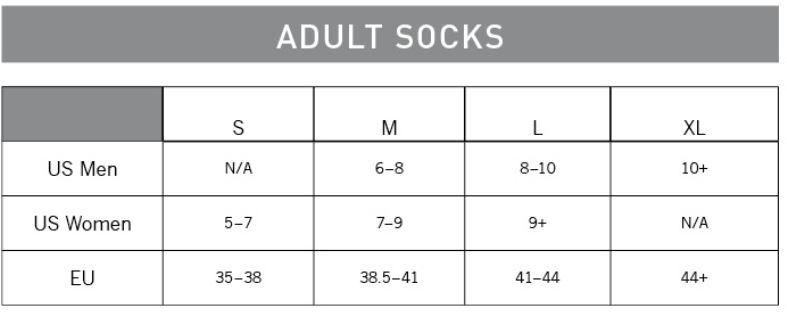 Pearl Izumi Sock sizing chart