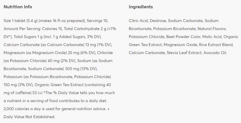 Nutritional information: Cherry Limeade + Caffeine
