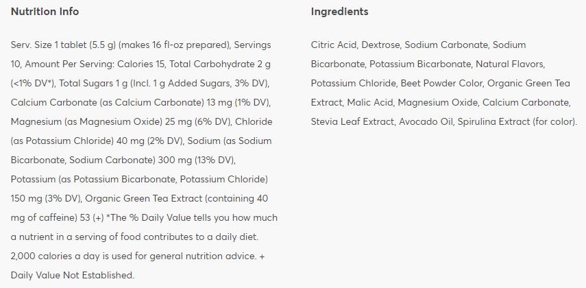 Nutritional information: Wild Berry + Caffeine
