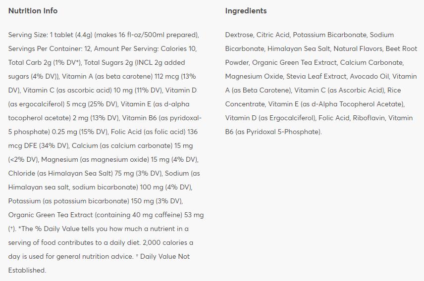 Nutritional information: Blackberry Citrus + Caffeine