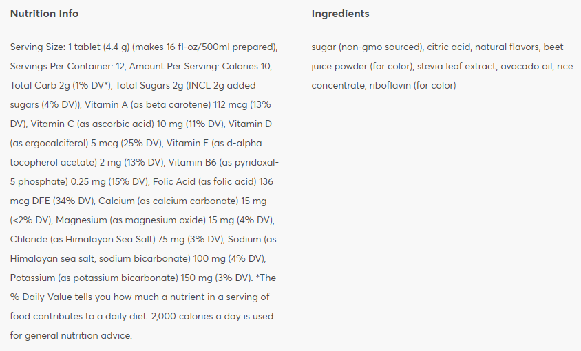 Nutritional information: Blueberry Pomegranate