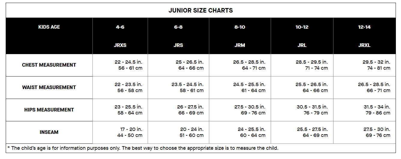 Louis Garneau Juniors apparel sizing chart