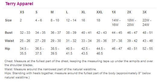 Terry Apparel Sizing chart