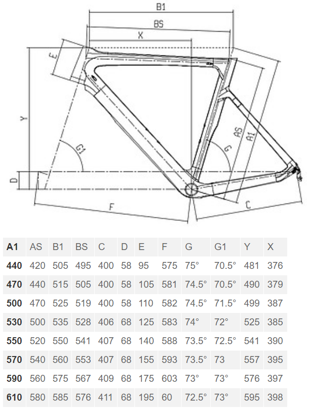 Bianchi Aria 105 geometry chart