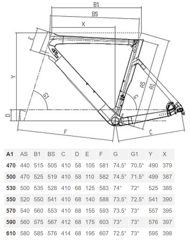 Bianchi Aria Disc geometry chart