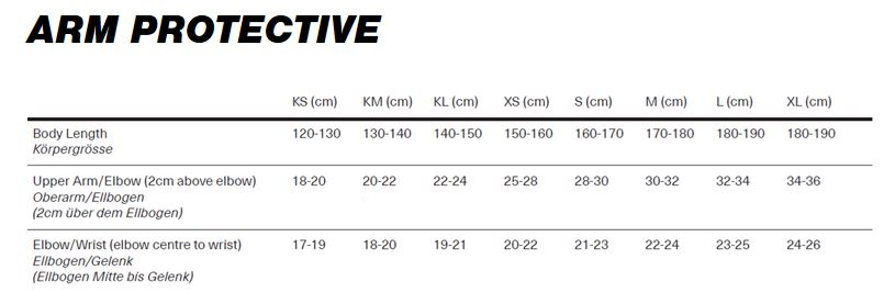 iXS Arm protective sizing chart