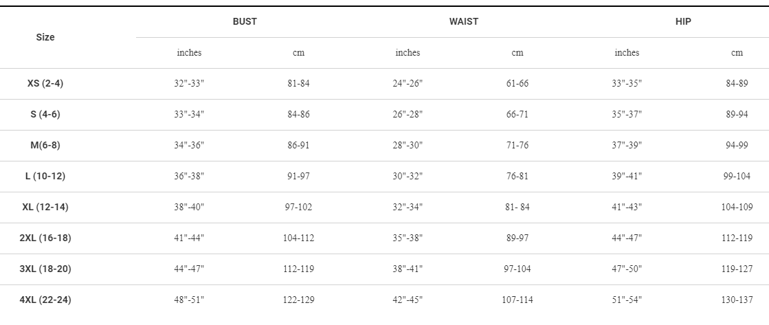 Bontrager women's apparel sizing chart