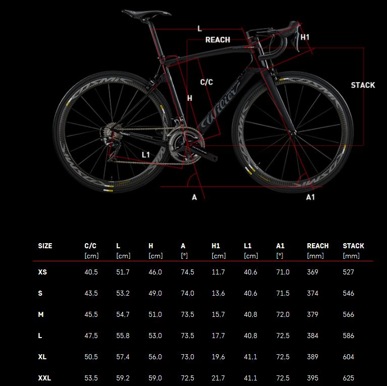 Wilier Triestina Centro10NDR 9120 Dura Ace Disc Geometry Chart