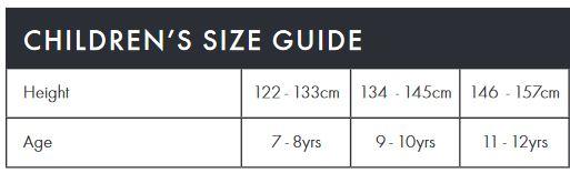 Endura Kid's size guide