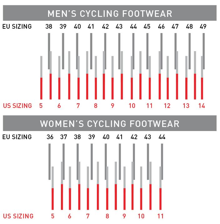 Pearl Izumi Footwear sizing chart