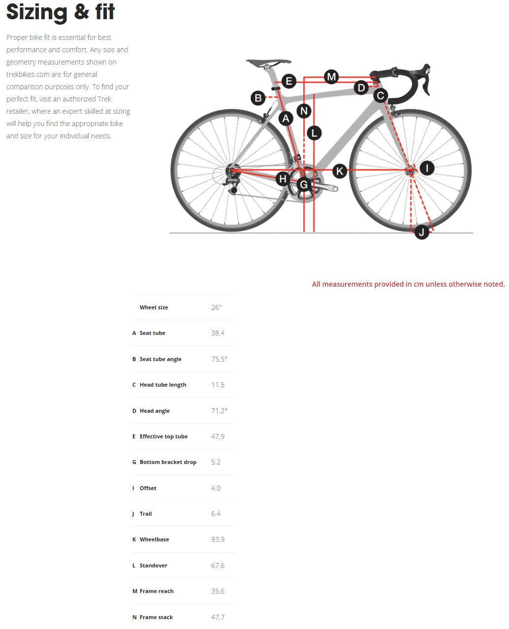 Trek Emonda 650 geometry chart