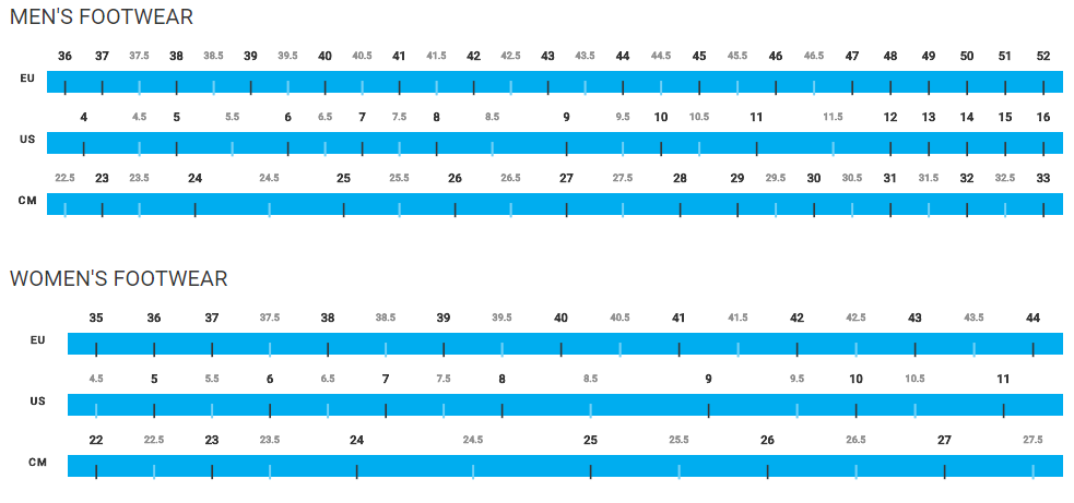 Shimano Footwear sizing chart