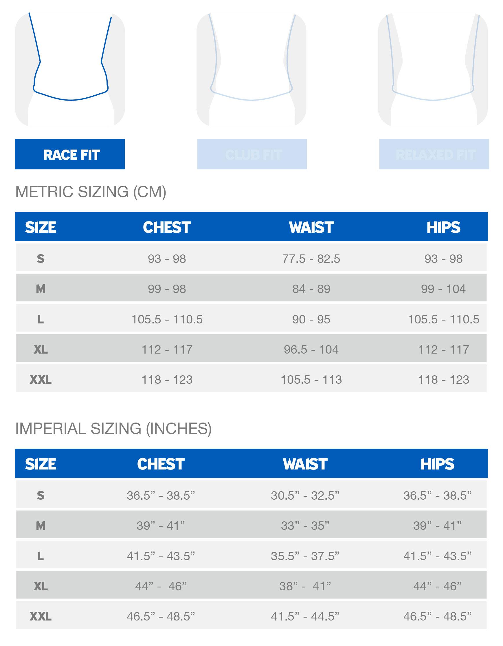 Giant Men's Race Fit sizing chart