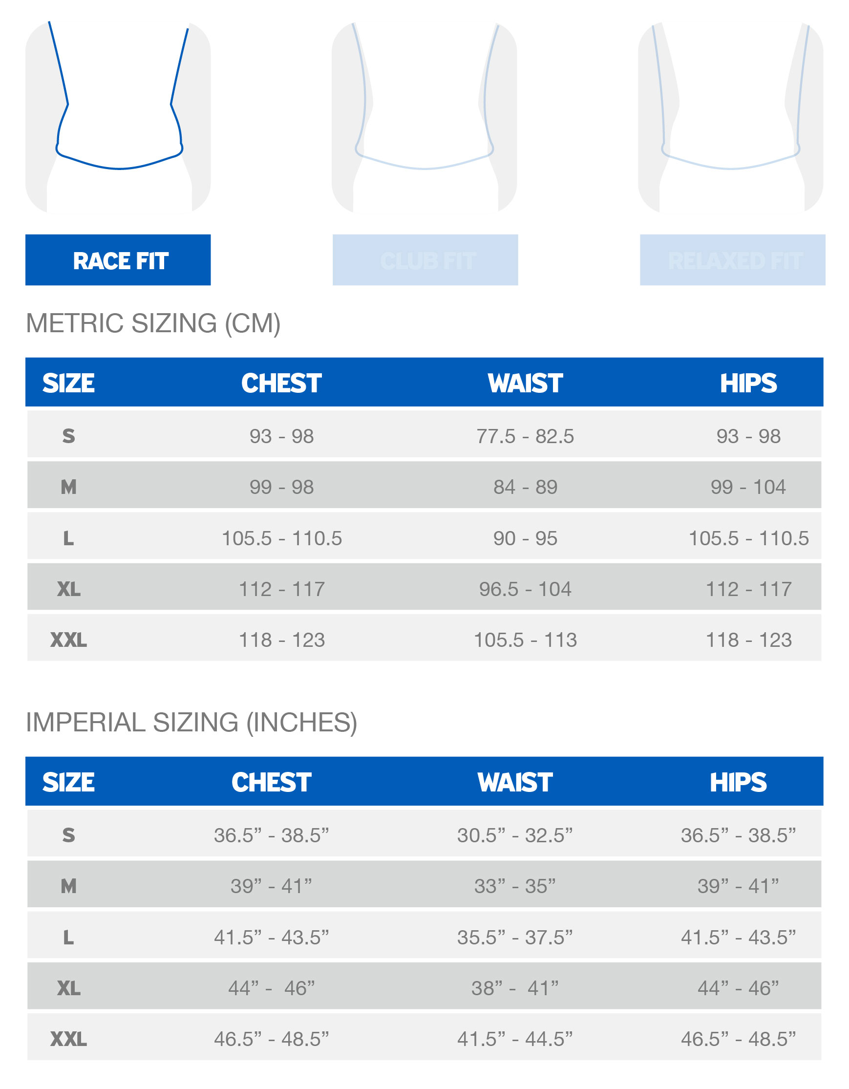 Giant Men's Race Fit sizing chart