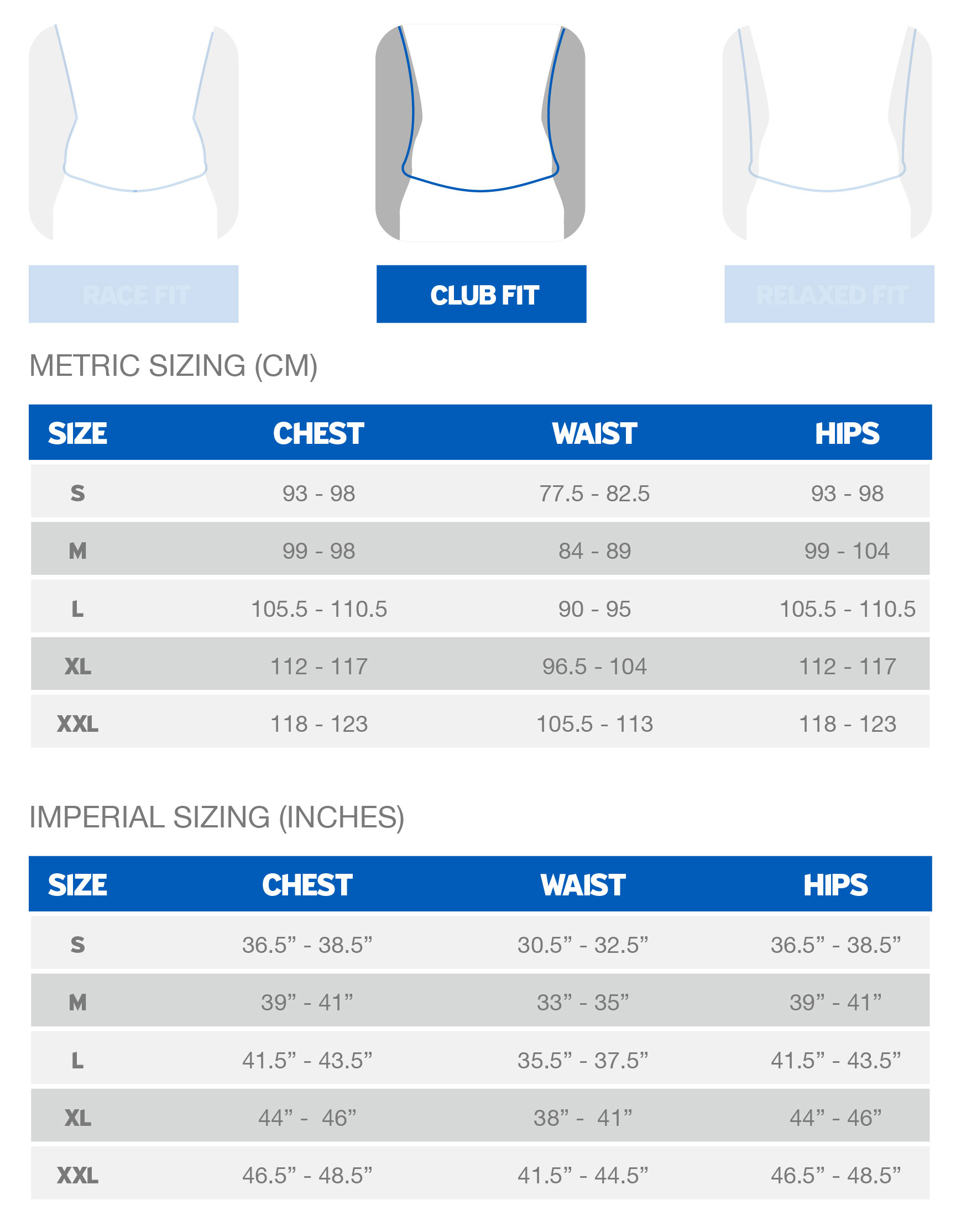 Giant Men's Club Fit sizing chart