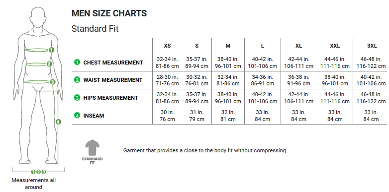 Garneau men's apparel sizing chart