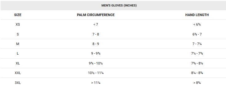 Garneau men's glove sizing chart