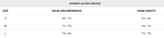 Garneau women's glove sizing chart