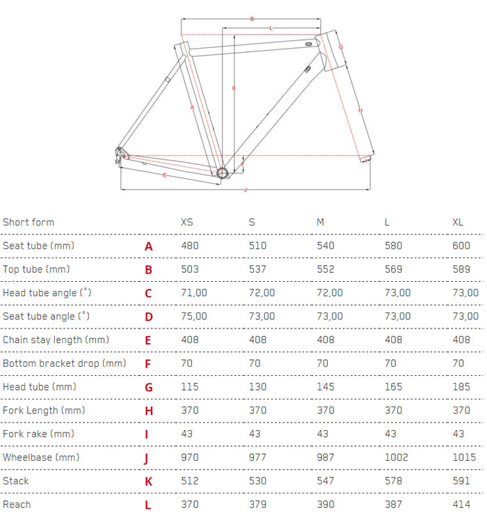 Focus Cayo AL Ultegra Geometry Chart