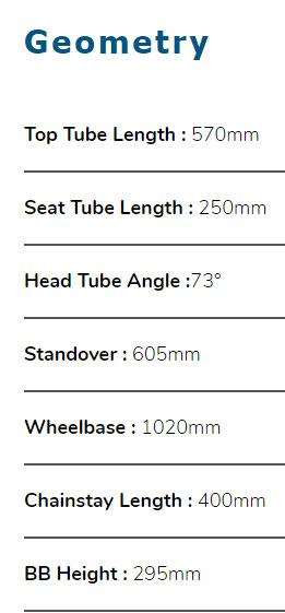 Dahon Speed D8 Sport Geometry Chart