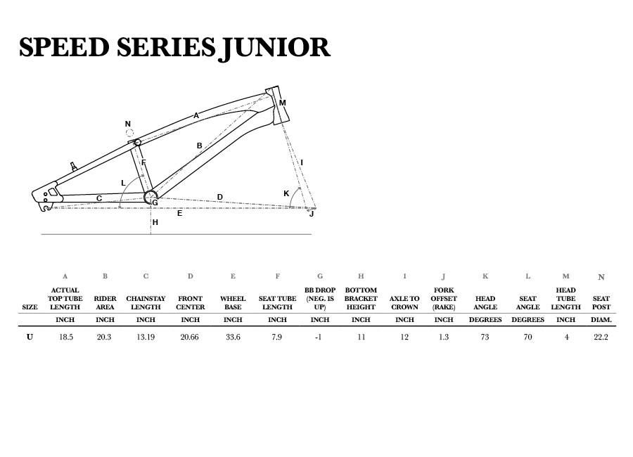 GT Speed Series Junior geometry chart