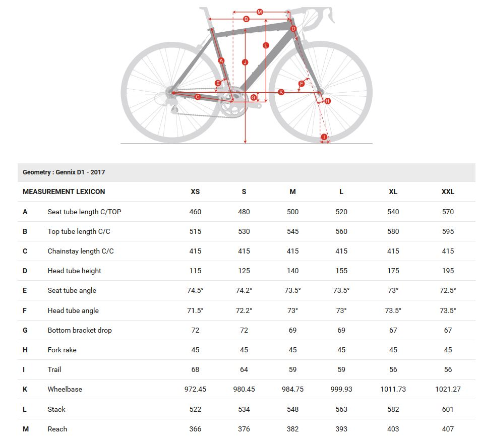 Geometry Chart Louis Garneau Gennix D1 Bike