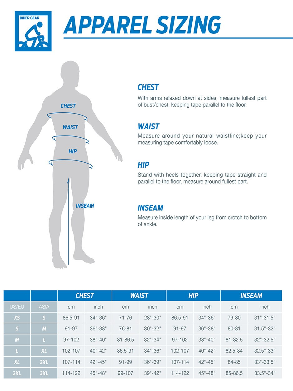 Giant Apparel sizing chart