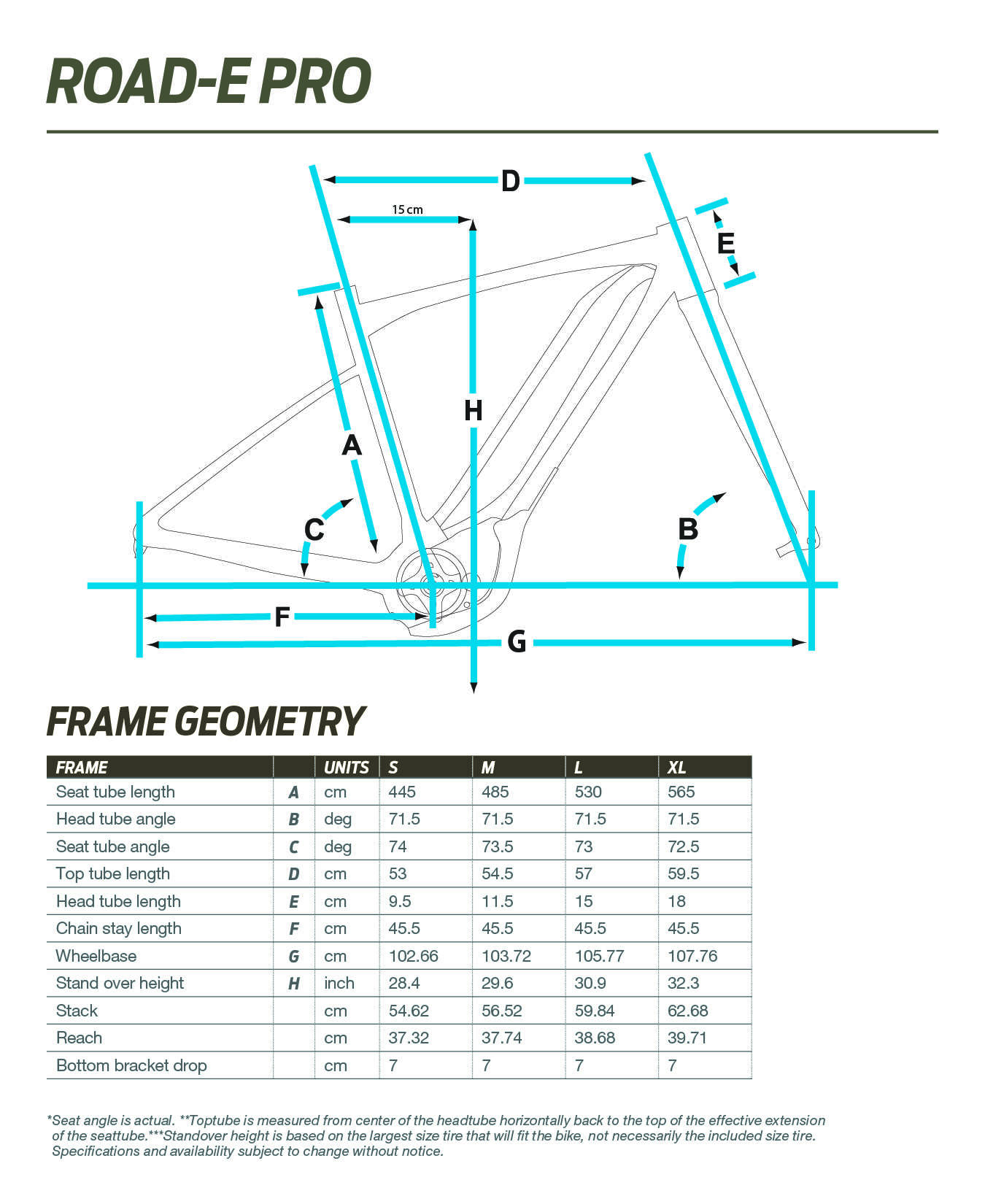 Giant Road-E Pro geometry chart