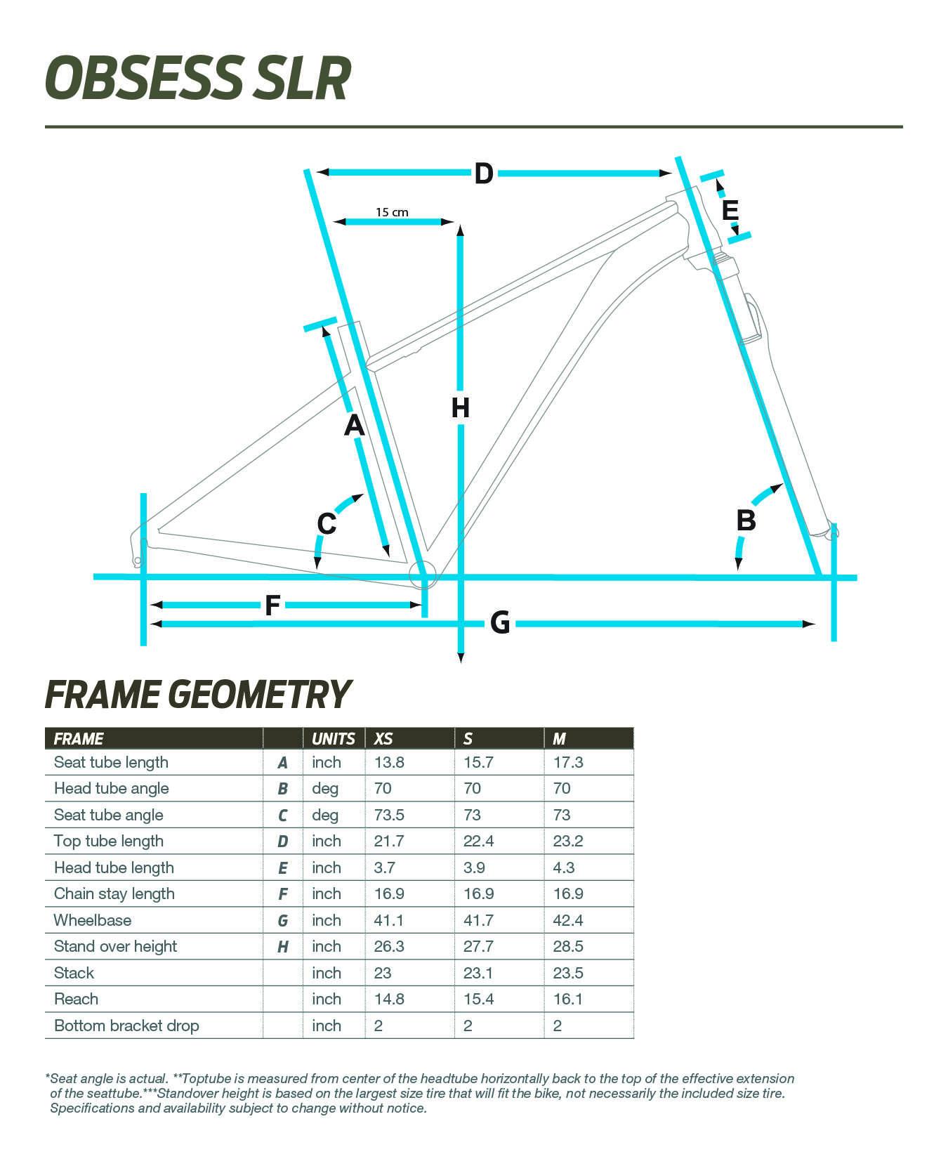 Liv Obsess SLR geometry chart