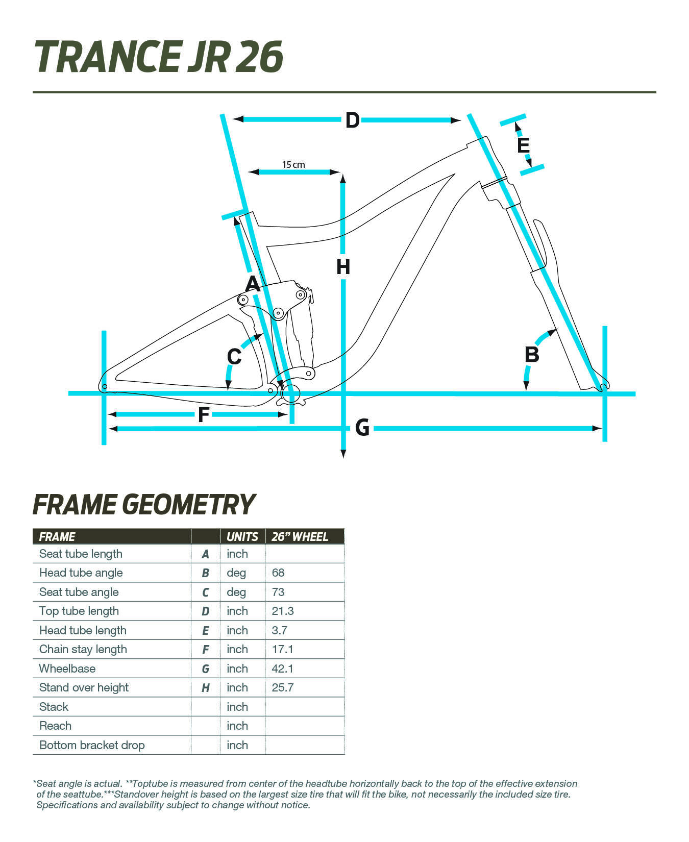 Giant Trance Jr 26 geometry chart