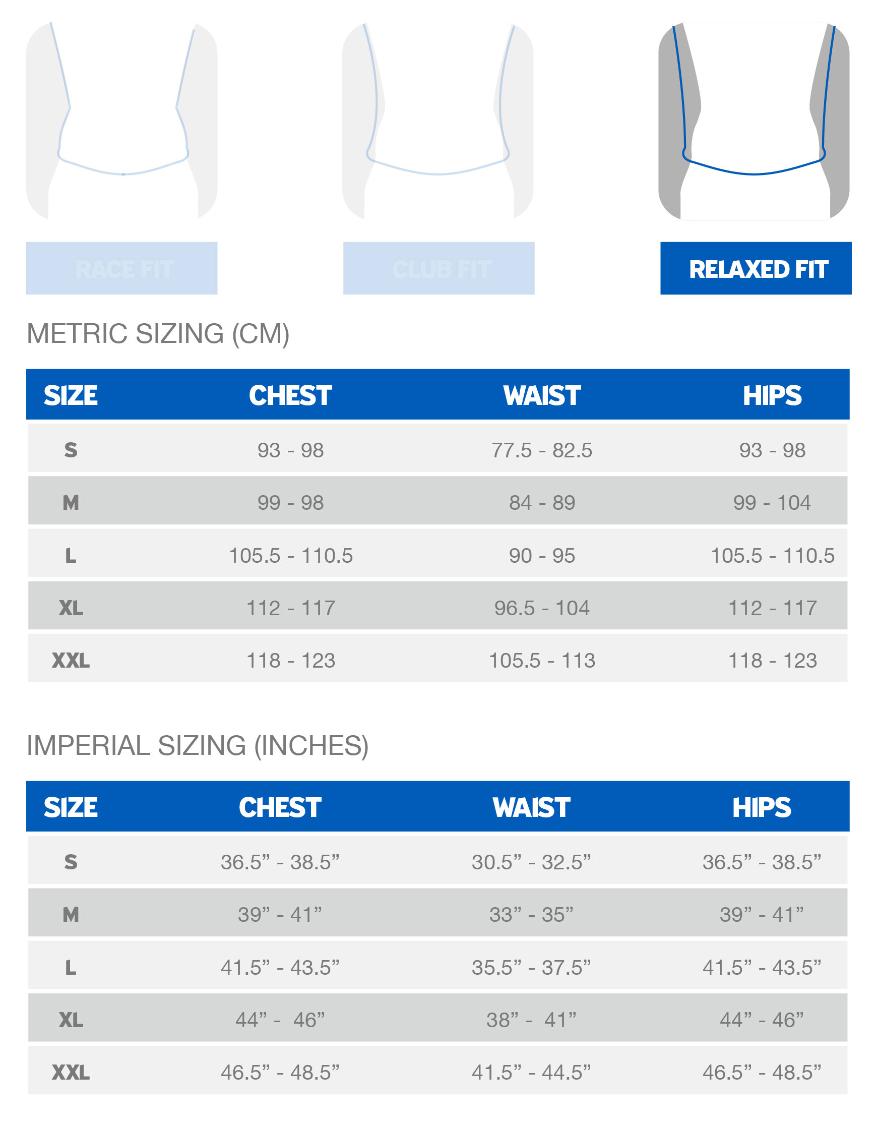 Giant Men's Relaxed Fit sizing chart