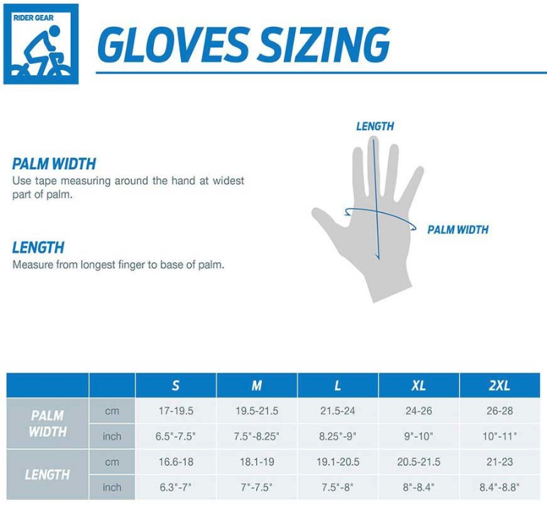Giant gloves sizing chart