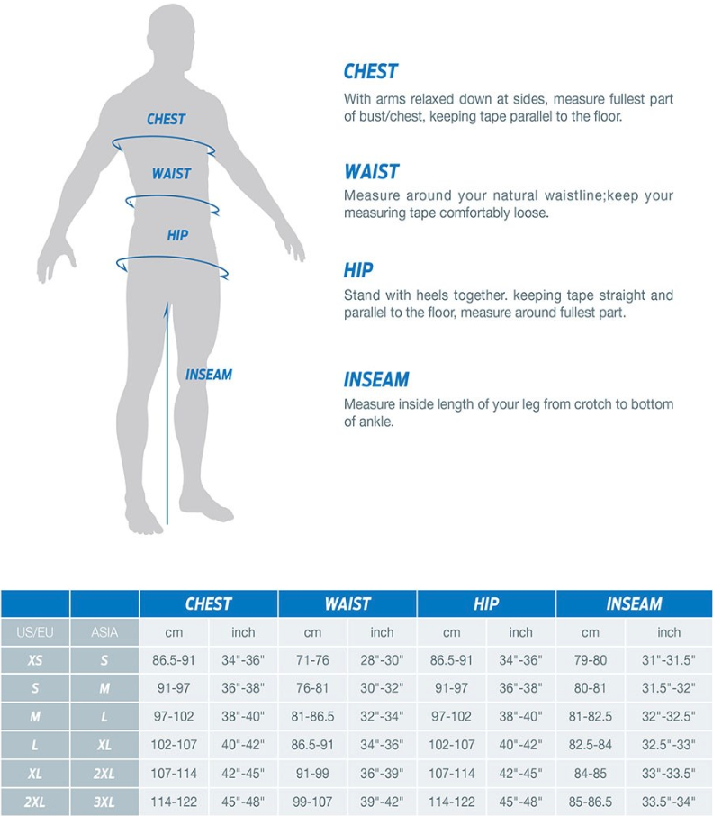 Giant Men's Apparel sizing chart