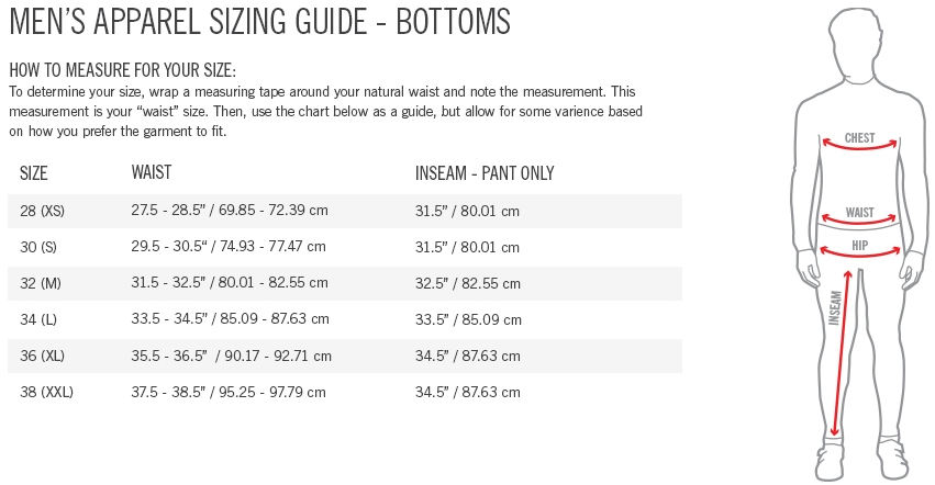 Giro Men's Bottoms sizing chart