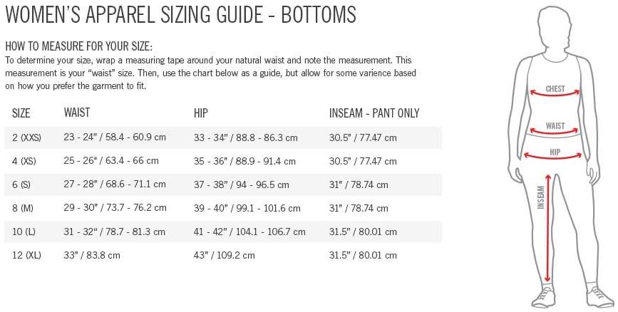 Giro Women's Bottoms Sizing Chart
