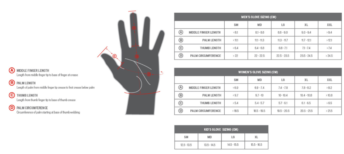 Specialized glove sizing chart