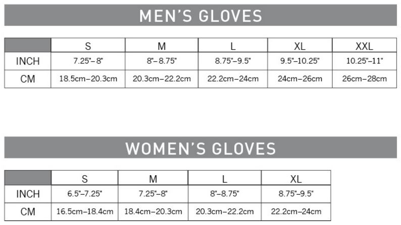Pearl Izumi Gloves sizing chart