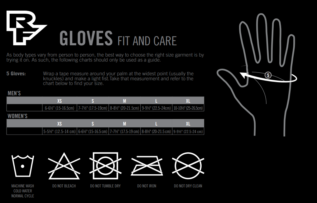 Race Face glove sizing chart
