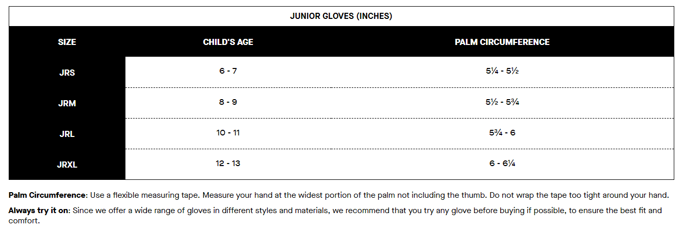 Louis Garneau Jr gloves sizing chart