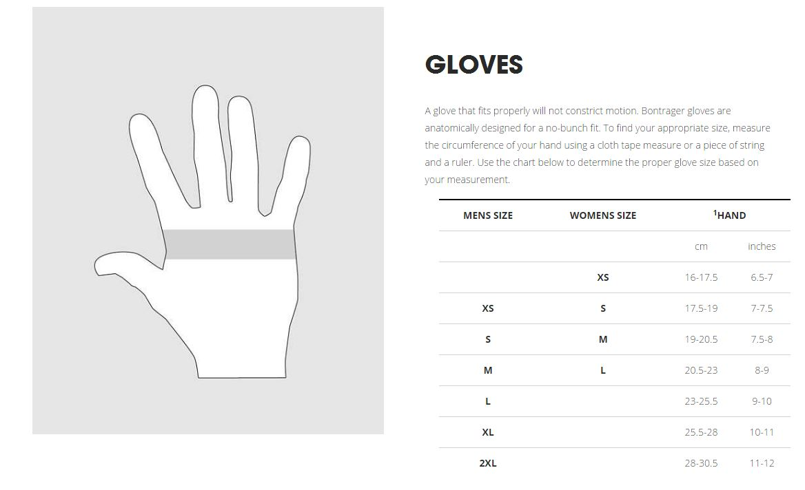Bontrager Gloves sizing chart