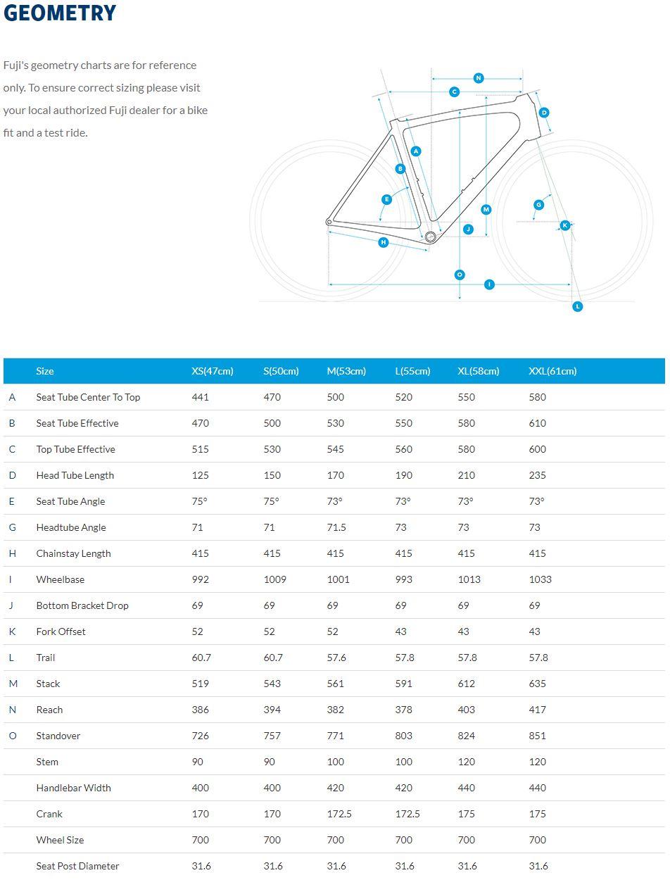 Fuji Gran Fondo Classico geometry chart