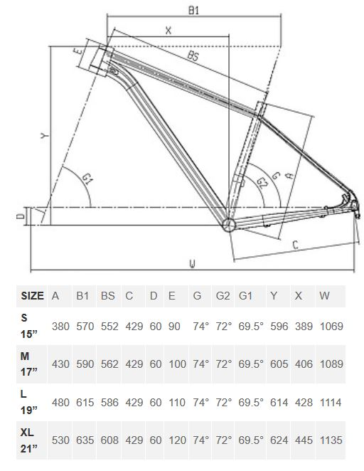 Bianchi Grizzly geometry chart